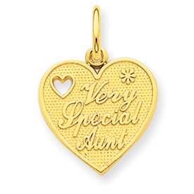 14k Gold Very Special Aunt Charms Heart With Heart Cut Out